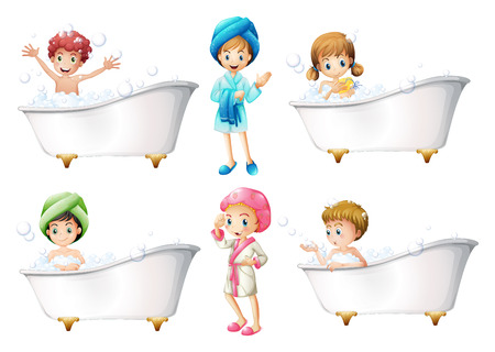 hygienic: Illustration of the children taking a bath on a white background