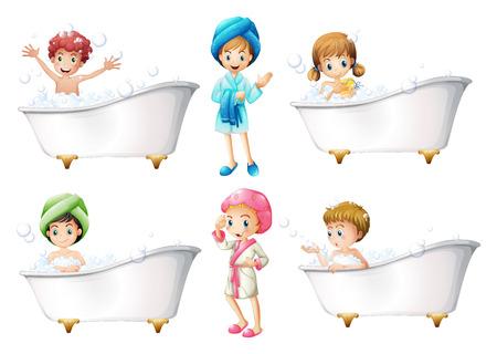aseo personal: Ilustración de los niños que toman un baño en un fondo blanco