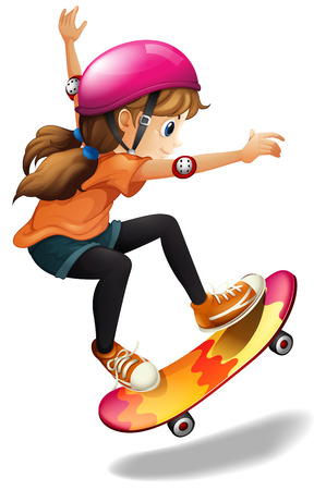 skateboarder: Illustration of a girl skateboarding on a white background