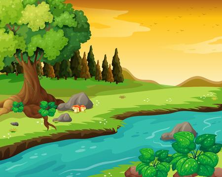 森で流れる川のイラスト