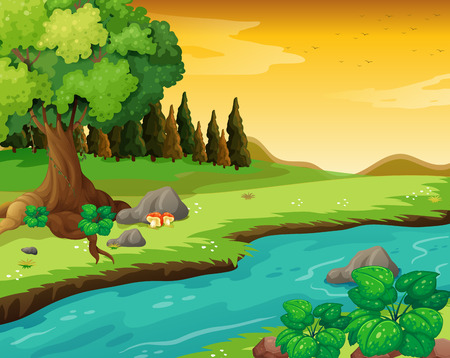 flowing river: Illustration of the flowing river at the forest