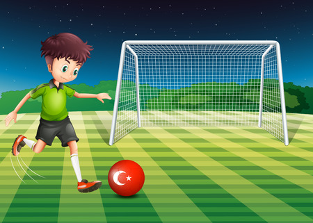 Illustration of a boy kicking the ball at the field with the flag of Turkey Vector