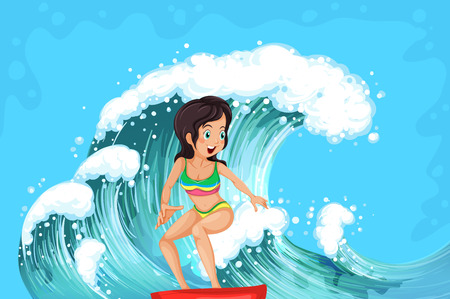 wavelengths: Illustration of a brave girl surfing