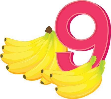 Illustration of the nine ripe bananas on a white background Illustration