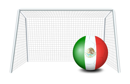 mexico cartoon: Illustration of a soccer ball with the flag of Mexico on a white background Illustration
