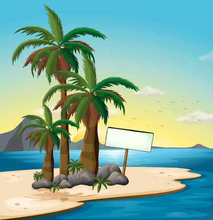 Illustration of an empty signboard at the beach Vector