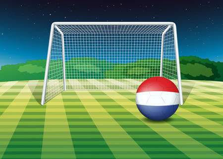 footwork: Illustration of a ball at the field with the flag of Netherlands