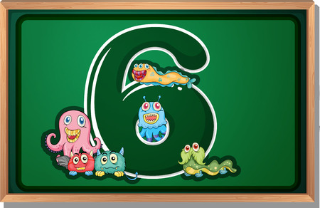 Illustration of a blackboard with six monsters Vector