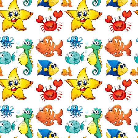 Illustration of the seamless design with sea creatures on a white background Vector