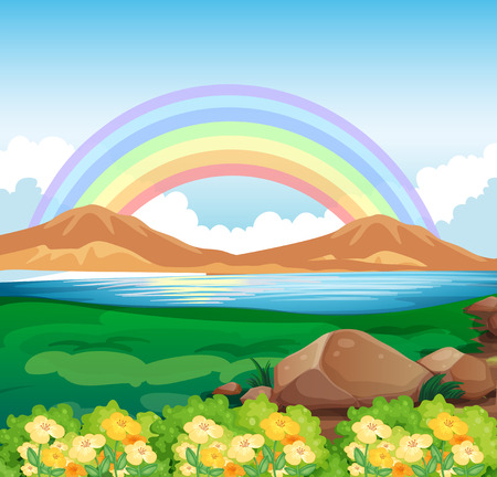 Illustration of a view of the rainbow and the beautiful nature Vector