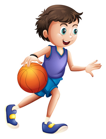 Illustratie van een energieke jonge man spelen basketbal op een witte achtergrond