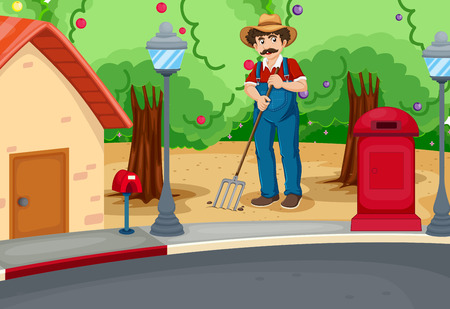 payphone: Illustration of a man raking the soil near the road Illustration
