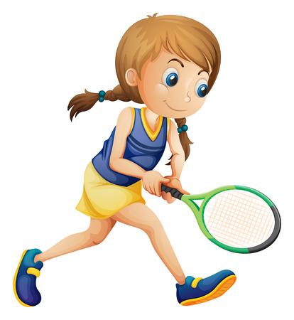 Illustratie van een jong meisje spelen tennis op een witte achtergrond