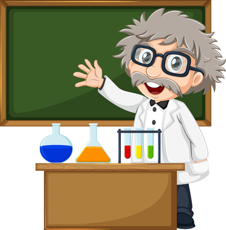 old container: Illustration of a scientist in front of the empty blackboard on a white background