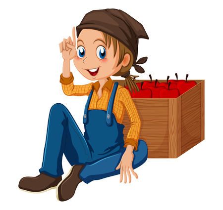 jumpsuit: Illustration of a young gardener sitting beside the box on a white background