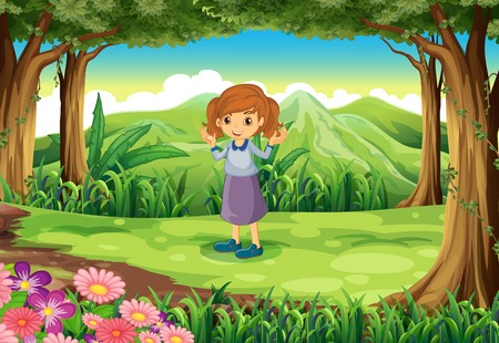 Illustration of a cute little lady at the woods Vector