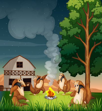 Illustration of the playful wild animals making a campfire Vector