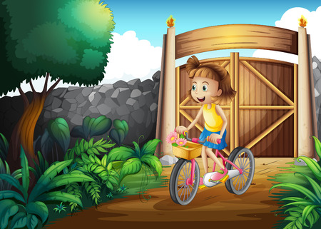 Illustration of a child biking at the yard Vector