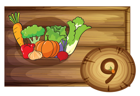 Illustration of a wooden frame with nine vegetables on a white background Vector