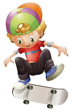 Illustration of a young man skateboarding on a white background Vector