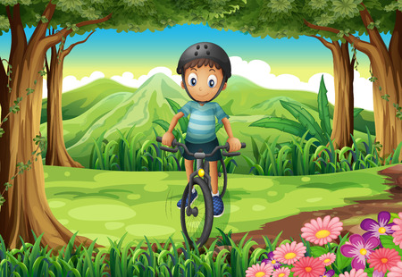 Illustration of a boy biking at the jungle Vector
