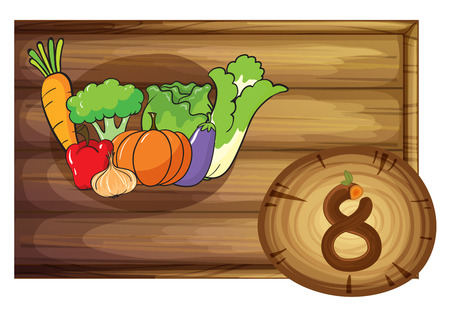 Illustration of a wooden frame with eight vegetables on a white background Vector