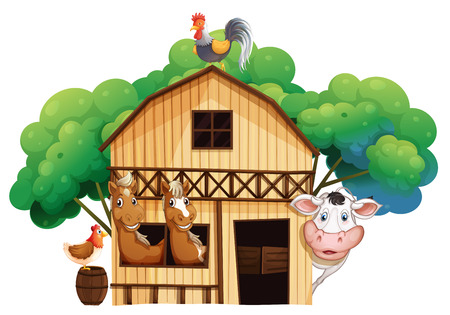 Illustration of a farmhouse with animals on a white background Vector