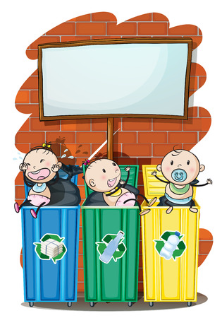 below: Illustration of the three kids in the trashbins below the empty signboard on a white background Illustration