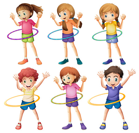 Illustration of the kids playing hulahoop on a white background Vector