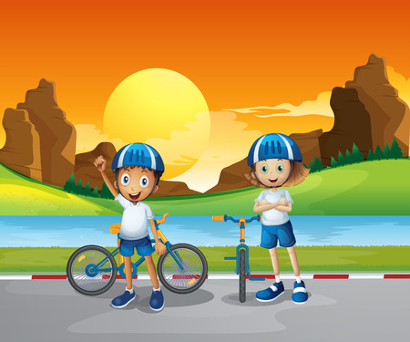 Illustration of the two kids with their bikes standing at the road near the river Vector