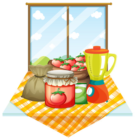 Illustration of a table with foods near the window on a white background Vector