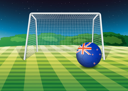 footwork: Illustration of a soccer ball at the field with the New Zealand flag