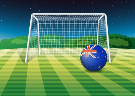 new zealand flag: Illustrazione di un pallone da calcio sul campo con la bandiera della Nuova Zelanda