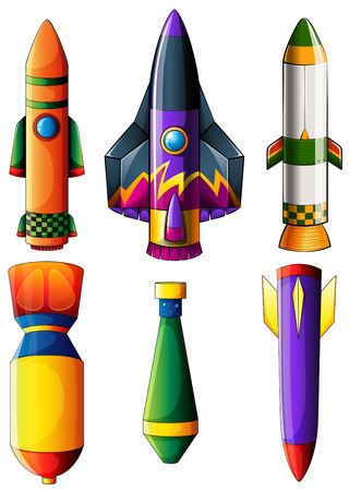 Illustration of a group of colorful rockets on a white background Stock Vector - 28202661