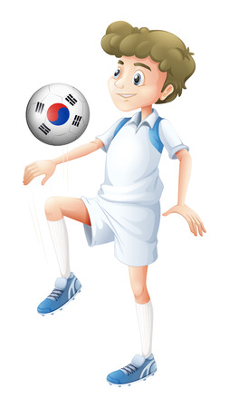 Illustration of a man using the ball with the flag of South Korea on a white background Vector