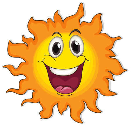 Illustration of a very happy sun on a white background Vector