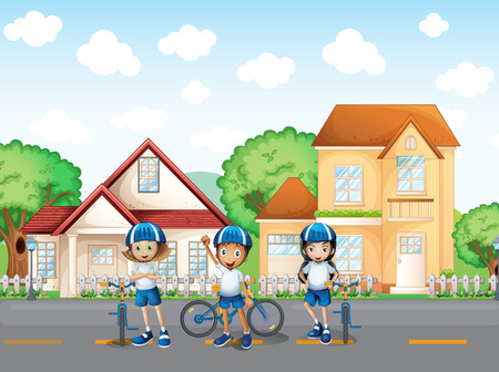 Illustration of the three cute bikers at the road Vector