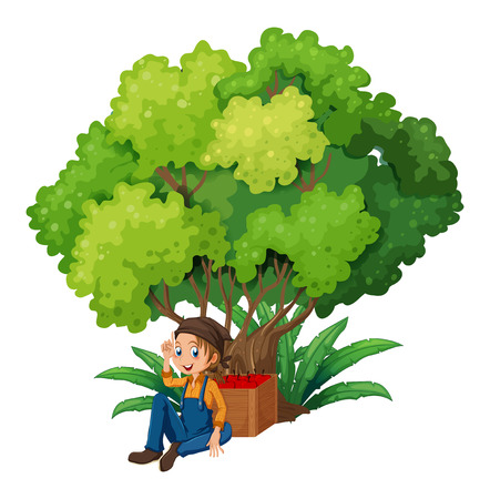 Illustration of a young farmer under the tree on a white background Vector