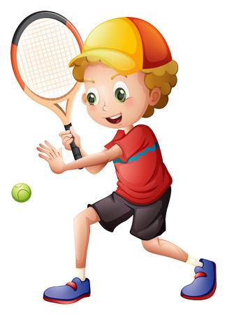 흰색 배경에 귀여운 작은 소년 재생 테니스의 그림