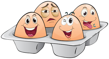 oblong: Illustration of an eggtray with four eggs on a white background Illustration