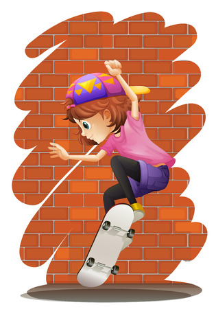 Illustration of an energetic little girl skateboarding on a white background Vector