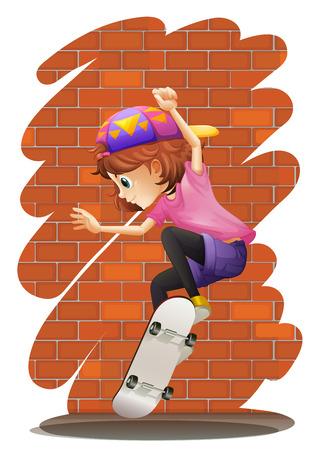 little skate: Illustration of an energetic little girl skateboarding on a white background Illustration