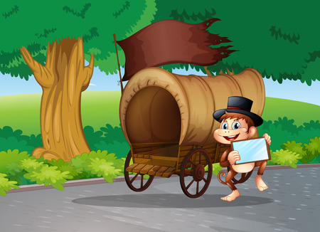 Illustration of a monkey at the street standing beside the wagon with an empty signboard Vector