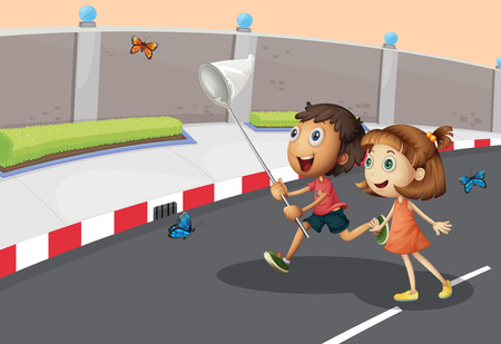 Illustration of the kids catching butterflies at the street Vector