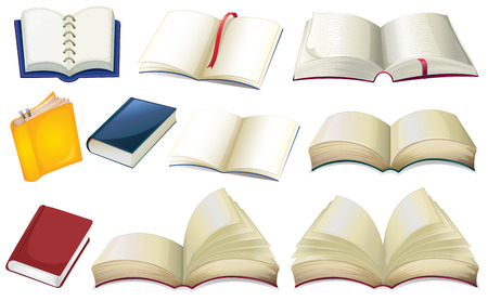 fantasy book: Illustration of the empty books on a white background