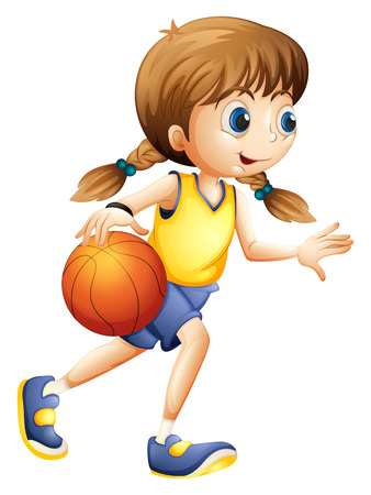 Illustratie van een leuke jonge dame spelen basketbal op een witte achtergrond