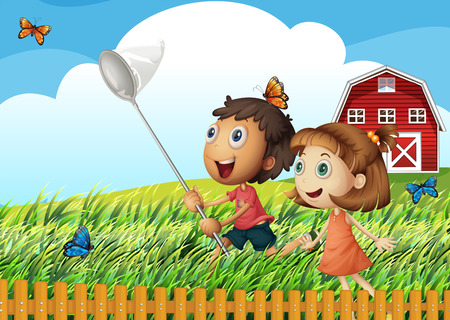 barnhouse: Illustration of the kids catching butterflies at the field