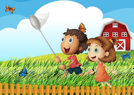 playmates: Ilustración de los niños que cogen mariposas en el campo