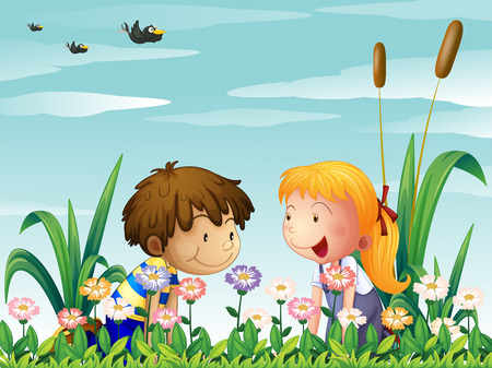 Illustration of a cute girl and a cute boy watching the flowers Vector