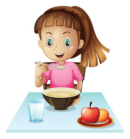 reggeli: Illusztráció egy lány eszik reggelit, fehér alapon